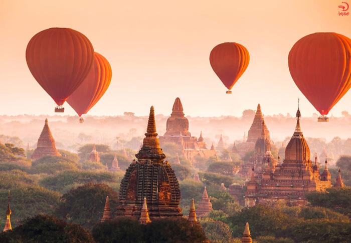 بالن سواری در باگان، میانمار/ برمه