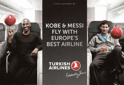 کوبی برایانت و لیونل مسی در هواپیمای ترکیش